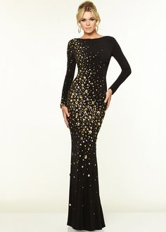 Sexy Back Long Sleeves Black Gold Circular Stones Evening Gown