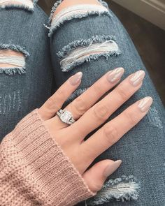 Mom jeans outfit, ripped blue jeans, cozy sweater, oval nails, almond shaped nails, cushion cut diamond engagement ring