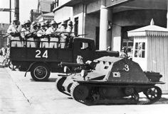 Japanese Marines and tankette, Shanghai in the 1930s.