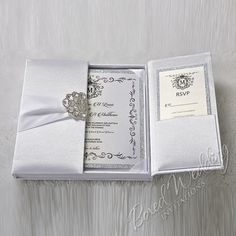 White Silk Invitation Box / Gatefold Invitation / Boxed Wedding Invitation / Invitation Box / Elegant, Couture Gatefold