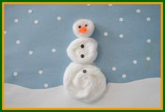 Fun and fuzzy snowman, learn to make these kids winter crafts at http://www.easy-crafts-for-kids.com/kids-winter-crafts.html