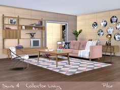 Mix of styles, current furniture, a vintage note and an exotic touch Found in TSR Category 'Sims 4 Living Room Sets'