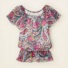 girl - short sleeve tops - paisley peasant tunic | Children's Clothing | Kids Clothes | The Children's Place