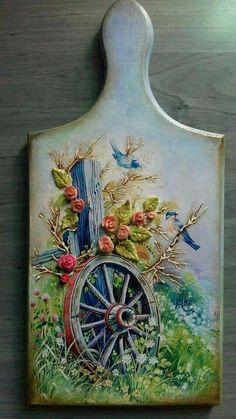 ,How To Produce Wood Art ? Wood art is typically the task of shaping about and inside, provided the top of anything is flat. Probably the most wonderfu. China Painting, Tole Painting, Painting On Wood, Arte Pallet, Pallet Art, Pintura Tole, Diy And Crafts, Arts And Crafts, Decoupage Art