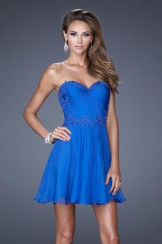 2015 Sweetheart Homecoming Dresses A Line Short/Mini Chiffon&Tulle With Beads And Applique USD 126.99 LDP89PHML8 - LovingDresses.com