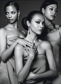 """Actress & model Zoë Saldana and her sisters Cisely and Mariel Saldana-Webb for the article """"Soul Sisters,"""" W Magazine, December 2011, by Max Vadukul"""