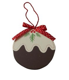 Gisela Graham Christmas Decoration - Wooden Christmas Pudding Tree Decoration