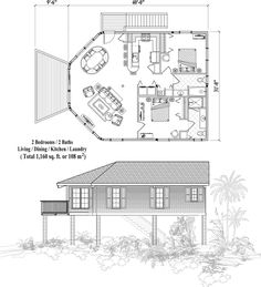 Octagon house floor plan 800 sq ft 2 bedrooms 2 baths for Beach house plans 1800 sq ft