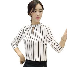 striped women tops and blouses 2015 new fashion casual hole white chiffon blouse puff sleeve stand black ladies office shirts