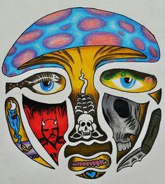 IM IN LOVEEEEEEE~ obvs didnt make it. im gonna print it and put it everywhere. Hippie Painting, Trippy Painting, Painting & Drawing, Psychedelic Drawings, Trippy Drawings, Art Drawings, Kunst Inspo, Art Inspo, Dope Kunst