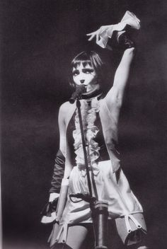 """Siouxsie Sioux performing during the """"Peepshow"""" tour, 1988. I love the style she has rocked through the years. Wish I could confidently embrace that much eyeliner and apply it so elaborately. But then I'd just be an imitator (best form of flattery though). Also my voice idol - Powerful and captivating."""