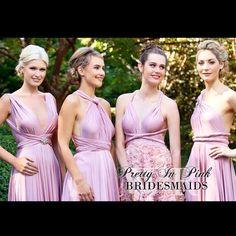 #prettyinpink #goddessbynature #dresses #bridesmaids #pink #pinkbridesmaids #weddings #whiterunway #multiway