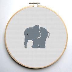 Cross stitch pattern pdf Grey elephant Instant Download