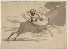 Honore Daumier, Centaur Abducting a Woman, 1870