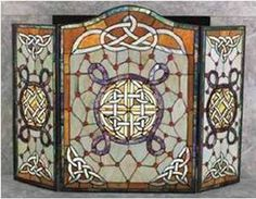CELTIC STAINED GLASS FIRE SCREEN
