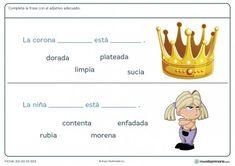 Ficha de completar la frase con dos adjetivos para primaria