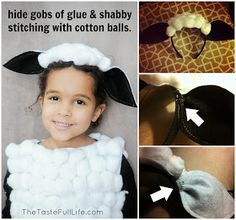 This DIY tutorial walks you through how to make a sheep costume and a cow costume for a manger scene or halloween costume! This DIY tutorial walks you through how to make a sheep costume and a cow costume for a manger scene or halloween costume! Kids Sheep Costume, Baby Lamb Costume, Sheep Costumes, Nativity Costumes, Baby Costumes, Costume Halloween, Christmas Costumes, Star Costume, Nursery Rhyme Costume