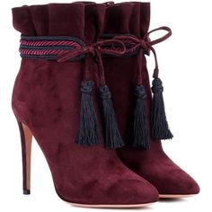 Aquazzura Shanty 105 Suede Ankle Boots ($795) ❤ liked on Polyvore featuring shoes, boots, ankle booties, purple, suede ankle bootie, purple suede booties, ankle bootie boots, short boots and bootie boots
