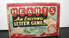 1914 HEARTS Parker Brothers Hearts Game  Wooden by TheIDconnection, $22.00