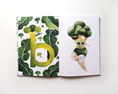 """Aitch est une jeune illustratrice qui nous vient de Bucarest. Son dernier projet est un ouvrage qui mélange végétaux et typographie. """"Aitch's VeggieFruit Alphabet"""" est une approche ludique sur les livres d'alphabet traditionnels."""