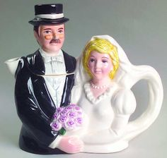 bride and groom wedding teapot, trailing bridal veil forms handle, ceramic