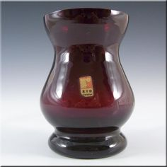 Ryd 1970's Scandinavian Ruby Red Glass Vase - Labelled - £13.49