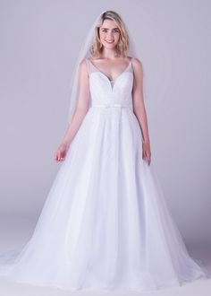 Bride&co wedding dress, All over beaded A-line dress with cinched belt detail.