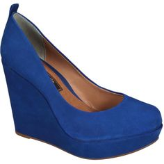 #Scarpin Cravo & Canela Azul Anabela Azul Royal #Blue #Shoes