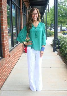 Double Trouble Top, $64.99 (sizes S-L)  White Linen Pants, 79.99 (sizes S-L)  Cuff, 24.99 ... love this outfit!!
