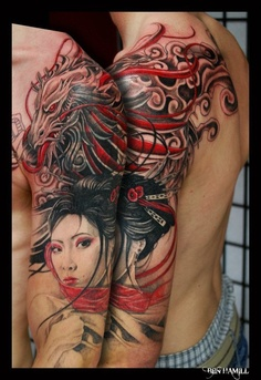 Dragon and Geisha Tattoo