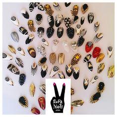 Nails Nails Nails #nails #nailart #supanails #style #fashion #ghettogoth #black #white #gold #silver #bling #rhinestones #3dnails