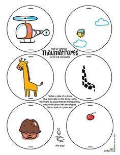 Free printable Thaumatrope (optical illusion) Le lapin dans la lune - Not so Victorian thaumatrope. Love it!!!