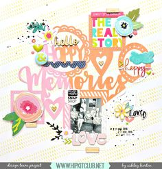 Design Team layout for Hip Kit Club, using the May 2016 Hip Kit & Add-On Kits. Vintage Scrapbook, Scrapbook Paper, Hip Kit Club, Candy Cards, Paper Hearts, Studio Calico, American Crafts, Printable Paper, Love Design