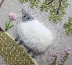 Sheep - Crewel Embroidery