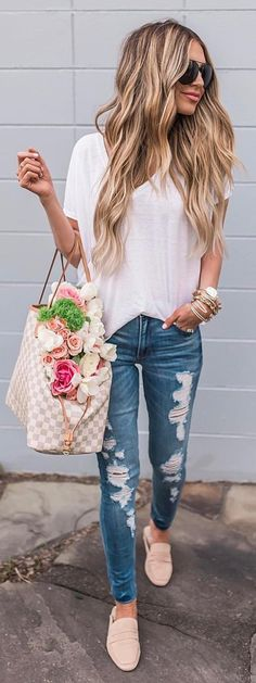 #spring #outfits White Tee + Ripped Skinny Jeans + Blush Pumps