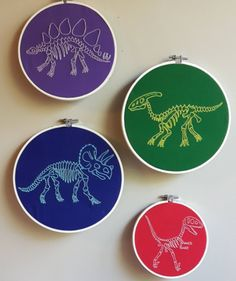 Hand Embroidery Patterns Too Cute Tuesday – Rainbow Dinos by Book Nerd Embroidery Learn Embroidery, Hand Embroidery Stitches, Embroidery Hoop Art, Hand Embroidery Designs, Embroidery Techniques, Cross Stitch Embroidery, Simple Embroidery, Cross Stitches, Embroidery Ideas