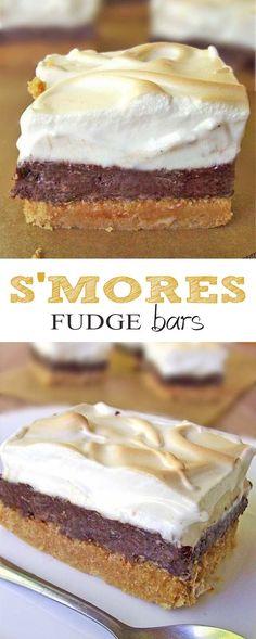 S'mores Fudge Bars Recipe | www.sugarapron.com | Gimme Some More #Smores