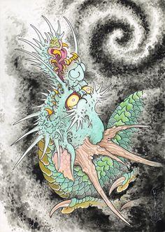Japanese Dragon Tattoos, Japanese Tattoo Art, Japanese Tattoo Designs, Traditional Japanese Tattoo Flash, Dragon Tattoo Flash, Japanese Mythical Creatures, Dragon Wallpaper Iphone, Japan Tattoo Design, Dragon Illustration