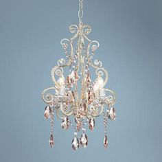 Add a sparkly swag of luxury with this easy plug-in, pink glass chandelier in a fresh white. Style # 85001 at Lamps Plus. Plug In Chandelier, Nursery Chandelier, Plastic Chandelier, Chandelier Crystals, Chandelier Ideas, Girl Nursery, Girl Room, Nursery Decor, Girls Bedroom