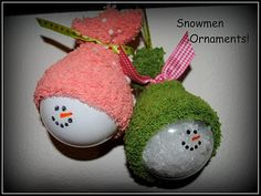Use clear glass ornaments, fill with fake snow or paint white. Sharpie for details. The hats were made using a baby sock.  Cut a hole in the sock so you can attach string/ribbon to hang your ornament.  Then closed off the top with some ribbon.