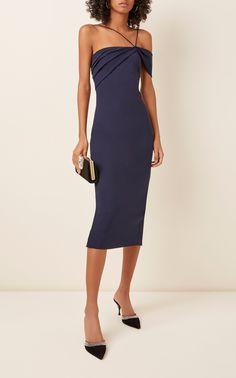 Asymmetric Draped Cady Midi Dress by Cushnie Beach Dresses, Formal Dresses, Luxury Fashion, Womens Fashion, Asymmetrical Dress, Ladies Dress Design, Designing Women, Dress Collection, Style Inspiration