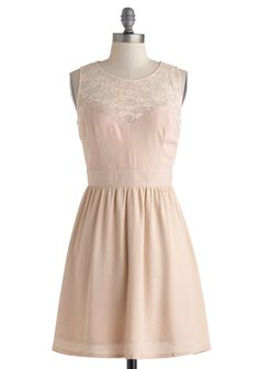 $64.99 A Blush of Excitement Dress - Pink, Solid, Lace, Daytime Party, A-line, Sleeveless, Sheer, Short, Wedding, Party, Pastel, Crew