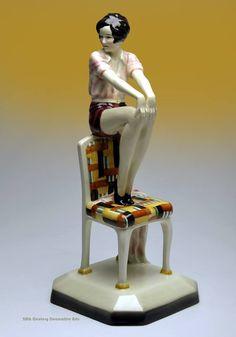 An Art Deco ceramic figure designed by Josef Lorenzl for Goldscheider Vienna in 1929.