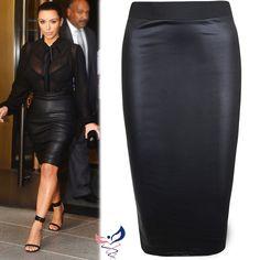 Femmes Mouillé Look Faux Cuir Crayon Moulant Taille Haute Plus Jupe Mi-Longue