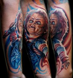 Chucky Tattoo: This tattoo of chucky the killer doll is very vivid and colorful, chucky is holding a knife and looks like he wants to stab someone . Chucky looks evil and ugly. Love Tattoos, Beautiful Tattoos, Tattoos For Guys, Amazing Tattoos, Tatoos, Colour Tattoos, Spooky Tattoos, Wicked Tattoos, Men Tattoos