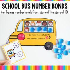 Ten Frames and Number Bonds Work: School Bus Theme Continents Activities, Counting Activities, Preschool Activities, Layers Of The Ocean, Montessori Color, Number Bonds, Kindergarten Learning, Animal Habitats, Ten Frames