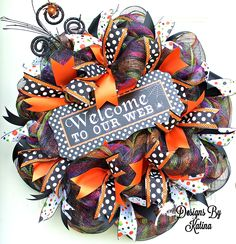 Welcome To Our Web Deco Mesh Wreath~Spiders~Polka Dots~Door Decor~Halloween~Designs By Katina www.facebook.com/DesignsByKatina www.DesignsByKatina.etsy.com