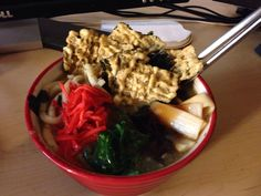 Udon with beef union and nori chips. I made this at work.