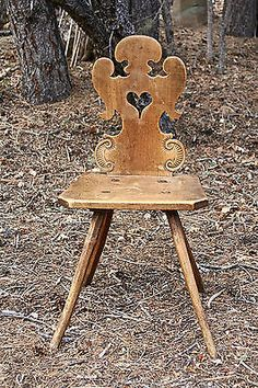 For the Refined Tyrolean Sophisticate:The Ideal Perfect Pear Wood Alpine Chair Craftsman Furniture, Modern Cottage, Furniture Inspiration, Decoration, Wooden Toys, Folk Art, Illustration, Dining Chairs, South Hampton