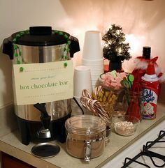 coffee bar display ideas - Google Search Office Christmas Decorations, Office Christmas Party, Christmas Party Food, Xmas Party, Holiday Parties, Christmas Drinks, Thanksgiving Holiday, Christmas Holiday, Holiday Ideas